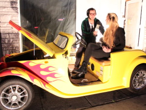Pictured: Turrtle and Nyx Interview in a Electric Car furnished by ParkPlaceCali.com Photo Credit: Denim Dan